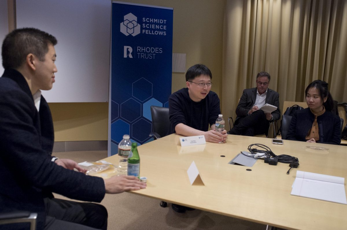 Feng Zhang and David Liu discussed the science and the social implications of CRISPR with the Fellows