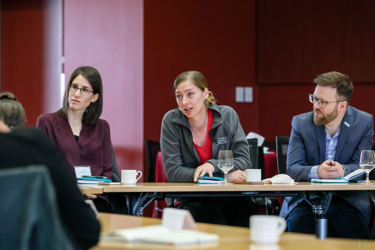 Fellows Adi Steif, Peyton Greenside, and Wes Fuhrman, engage in a lively discussion with guest speakers.