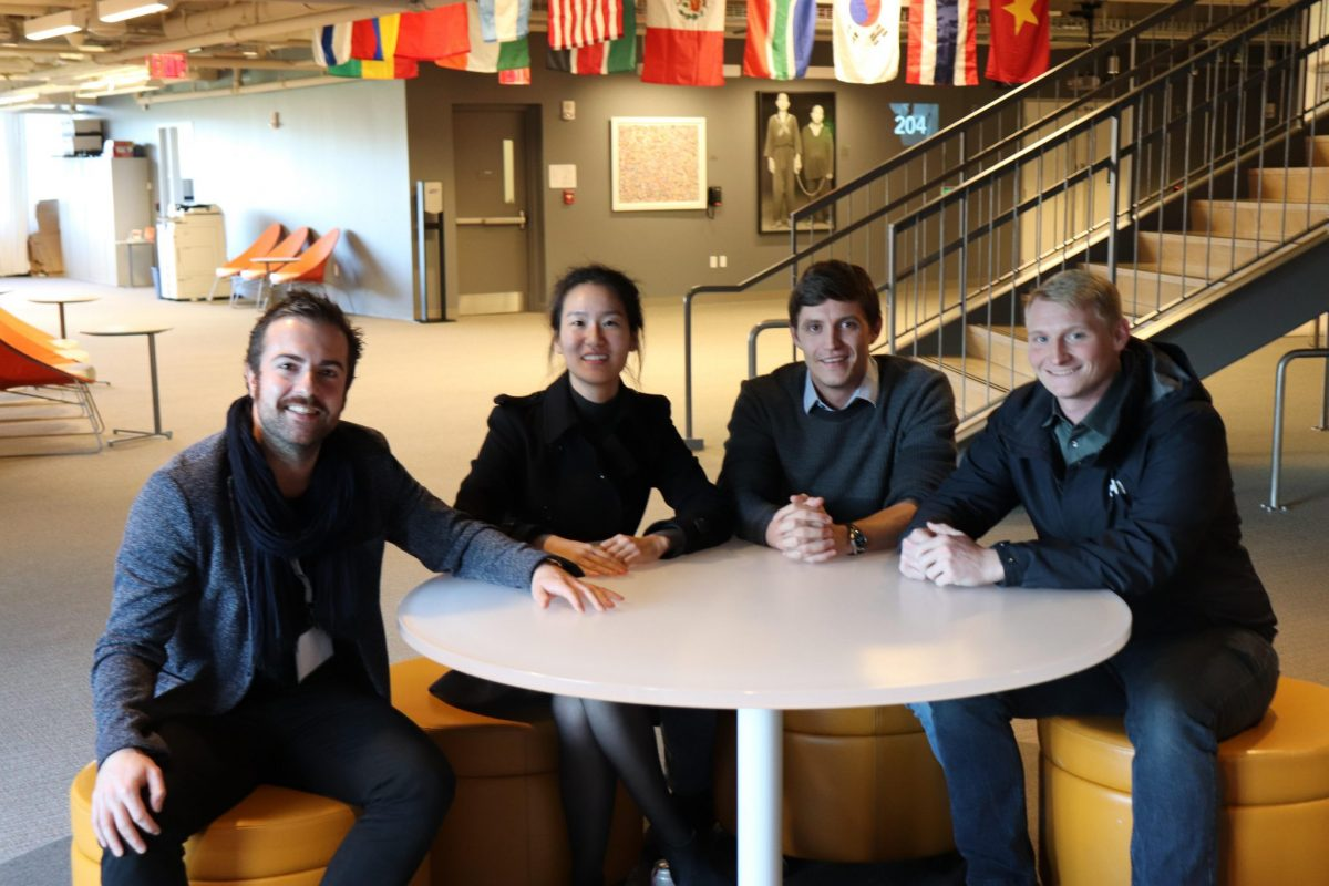 Schmidt Science Fellows Dr Mattia Serra, Dr Jina Ko, Dr Fred Richards, and Dr Hal Holmes, at the Harvard iLab.