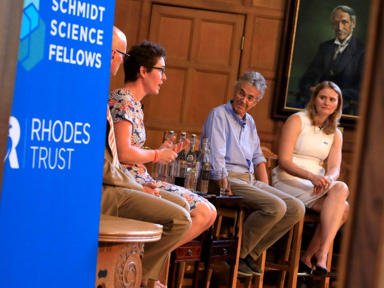 Public panel discussion at Rhodes House during the Global Meeting on the topic of leadership in science. The panel included Prof Ian Walmsley, Prof Charlotte Dean and Prof Lord John Krebs. The panel was chaired by Executive Director, Dr Megan Wheeler.
