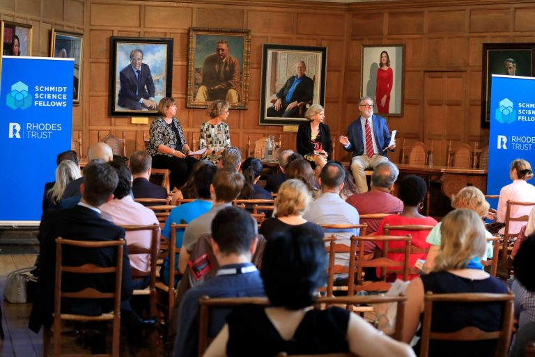 The public panel on innovation and interdisciplinarity was held in Milner Hall, Rhodes House, Oxford. Prof Dame Wendy Hall from the University of Southampton chaired the panel of Prof Helen Byrne, University of Oxford, Prof Jackie Hunter, CEO of BenevolentBio,and Prof Hagan Bayley, founder of Oxford Nanopore Technologies.