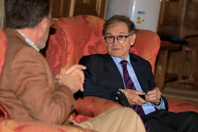 The Global Meeting featued a 'fireside chat' with Prof Sir Roger Penrose.